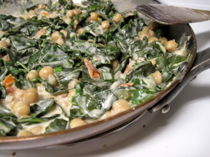 Greens with garbanzos