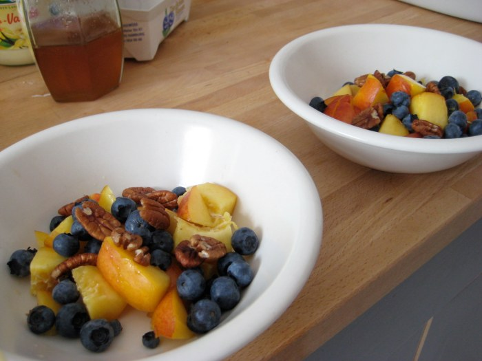 Nectarines, blueberries and pecans