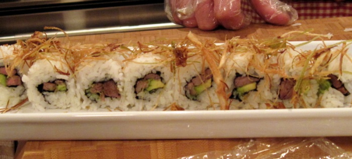 Rick's beef roll with crispy leeks. Note to self: find more uses for crispy leeks!