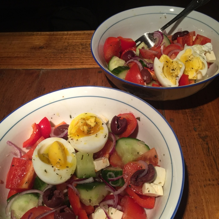 Greek salad with hard boiled egg