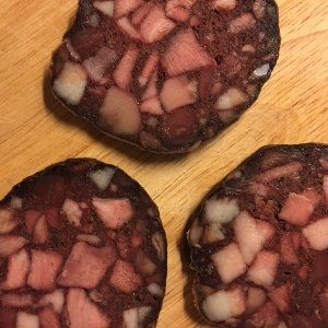 I have quite a bit of this blood sausage leftover. Even these three slices were more than I needed.